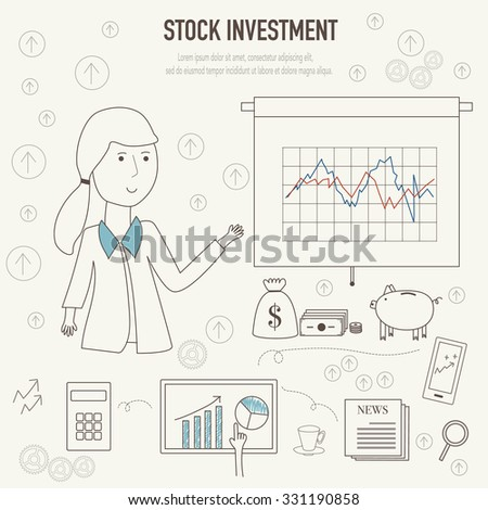 Stock investment  concept with doodles icons vector illustration EPS10. - stock vector