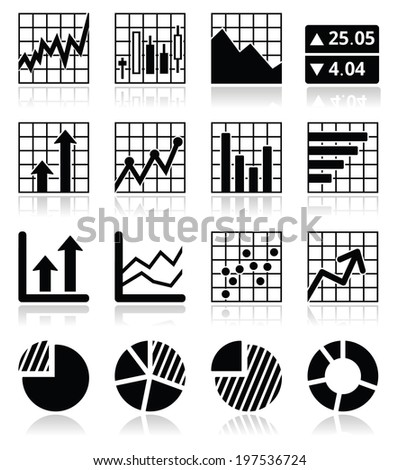 Stock market analysis, chart and graph icons set  - stock vector