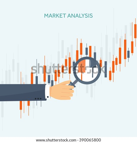 Stock market analysis,finance.Flat style illustration.Money investing.Global economy, market news.Forex trading tips.Investment banking.Futures market trading.Financial investment.Long term investment - stock vector
