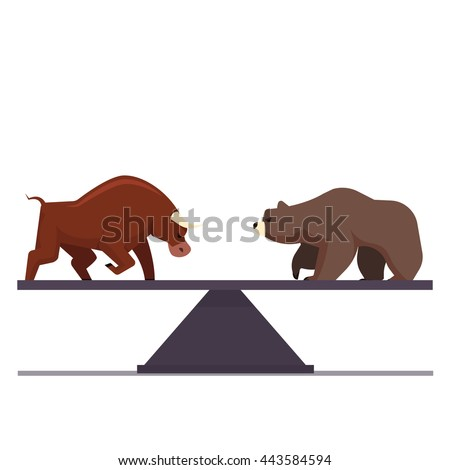 Stock market bulls and bears battle metaphor. Stock exchange trading business concept. Market equilibrium. Modern fat style vector illustration. - stock vector