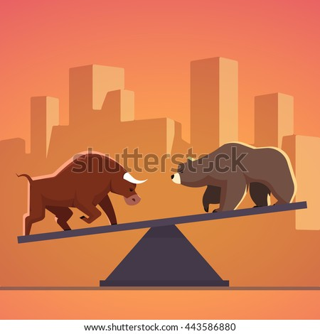 Stock market bulls and bears battle metaphor. Stock exchange trading business concept with city downtown sunset background. Modern fat style vector illustration. - stock vector