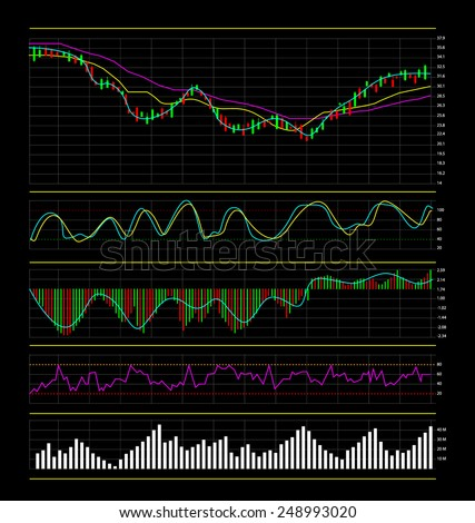 Stock market charts and graphs, Vector illustration template design - stock vector