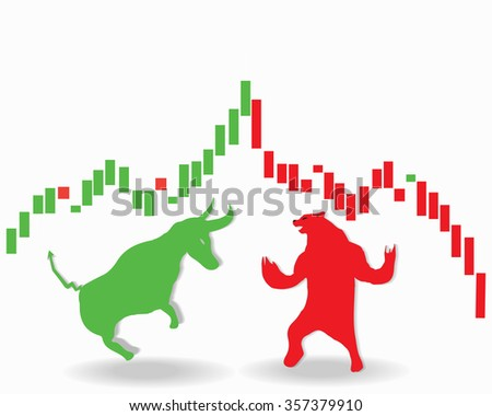 Stock market concept of the animal symbols for buy and sell as a bull and bear for bullish and bearish  - stock vector
