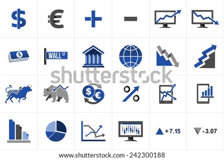 Stock market exchange and finance icon set concept illustration. Ideas for website and app layout. - stock vector