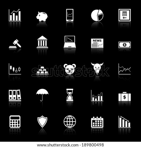 Stock market icons with reflect on black background, stock vector - stock vector