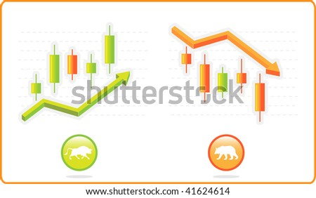 Stock market illustration- growing and falling trends with Japanese candle sticks - stock vector