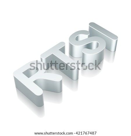 Stock market indexes collection: 3d metallic character RTSI with reflection on White background, EPS 10 vector illustration.