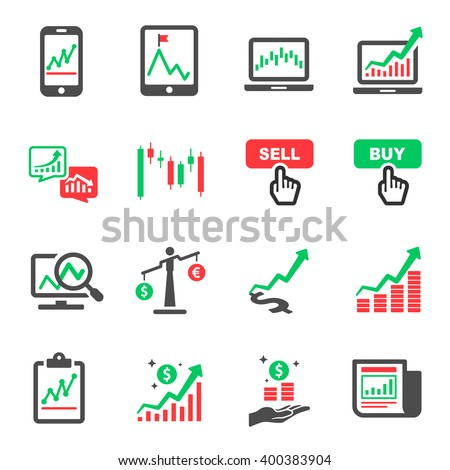 Stock Market Investment Online Vector Icon Set - stock vector