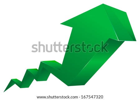 Stock Shares Raise Up Green Arrow vector 3d - stock vector