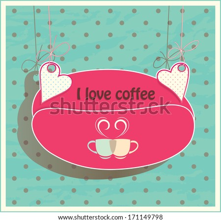 Stock suspended for hearts card. Oval shaped coffee beans. Two cups for loving couple. - stock vector
