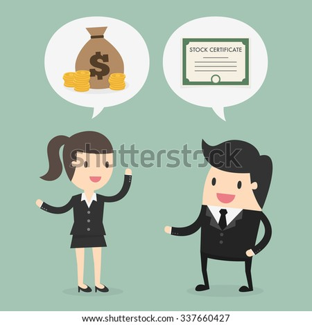 Stock trading. Business concept cartoon illustration