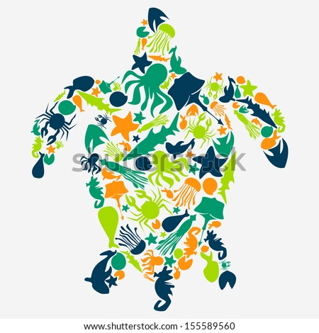 Stock turtles made up of silhouettes of sea creatures - stock vector