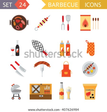 stock vector barbecue restaurant party family dinner summer picnic food symbols flat design template illustration
