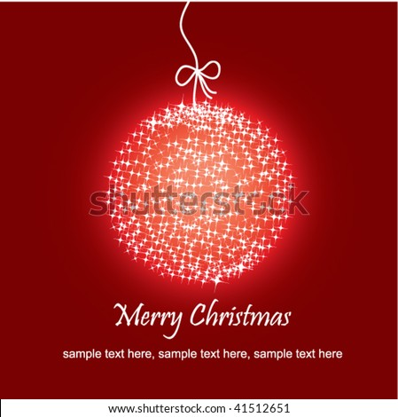 Stock Vector Beautiful Christmas Red Ball Illustration Christmas Card