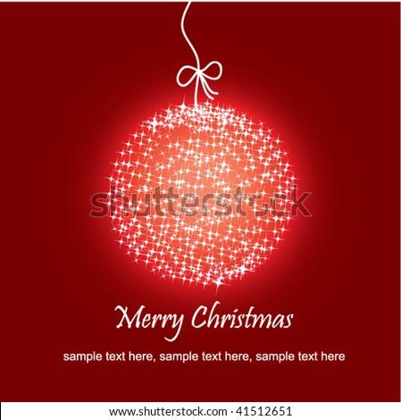 Stock vector beautiful christmas red ball illustration christmas card - stock vector