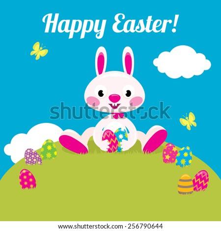 Stock vector cartoon illustration Easter bunny and Easter colored eggs/Easter bunny and Easter colored eggs/Stock vector cartoon illustration - stock vector