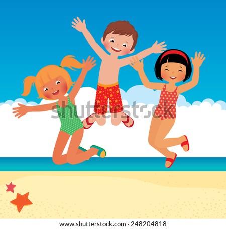 Stock vector cartoon illustration Funny children on the beach/Funny children on the beach/Stock vector cartoon illustration - stock vector