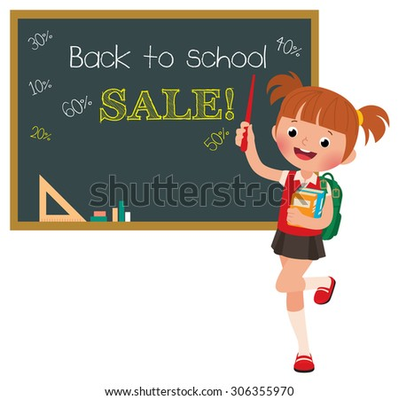 Stock Vector cartoon illustration of a girl pupil at a school board with the inscription sale