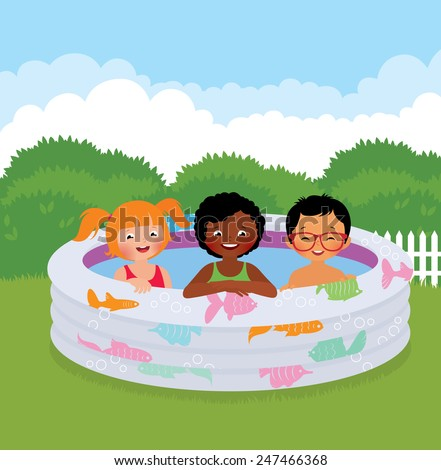 Stock Vector cartoon illustration of a group of children in an inflatable pool/Group of children in an inflatable pool/Stock Vector cartoon illustration - stock vector