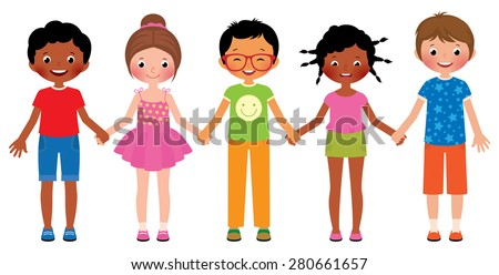 Stock Vector cartoon illustration of children friends holding hands isolated on white background/Children friends holding hands isolated on white background/Stock Vector cartoon illustration