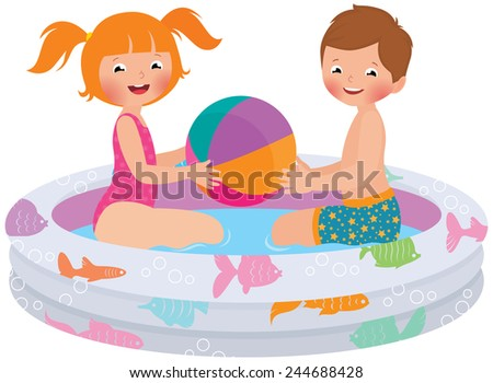 Stock Vector cartoon illustration of children playing in inflatable pool.  - stock vector
