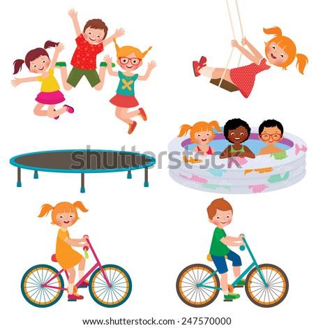 Stock Vector cartoon illustration of summer children activities/Summer children activities/Stock Vector cartoon illustration - stock vector
