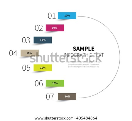 stock vector diagram circle for statistics steps / infographic half circle 7 options - stock vector
