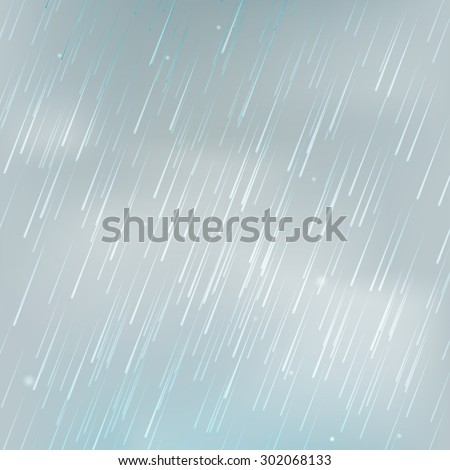 Stock vector illustration background with rain. Shower weather. Monsoon. Isolated on a realistic background. Eps 10