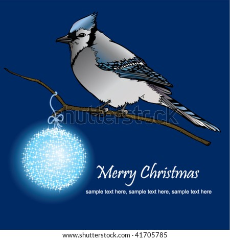 Stock vector illustration card drawing of bluebird on branch and Christmas decoration - stock vector