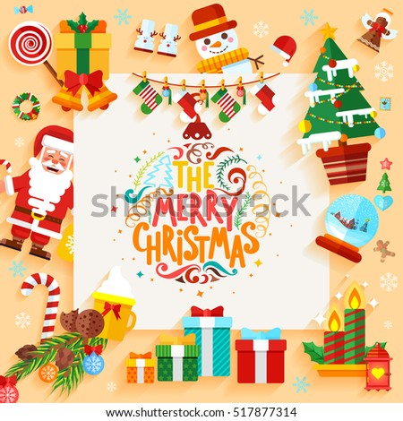 Stock vector illustration Christmas banner design greeting card with decorative elements in a flat style for the New Year 2017and hand lettering
