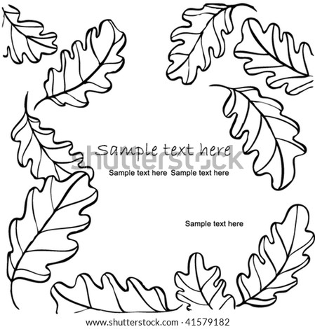 Stock vector illustration decorative background card with oak leaves fall - stock vector