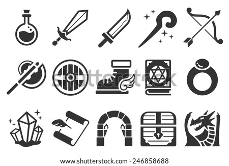 Stock Vector Illustration: Game RPG icons - stock vector