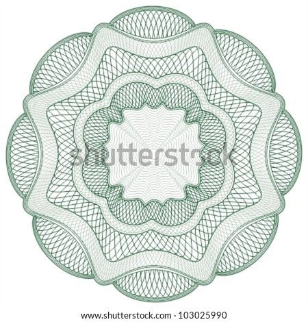 Stock Vector Illustration: Guilloche elements for certificate or diploma / currency and money design / vector / CMYK color / All lines and color are easy editable - stock vector