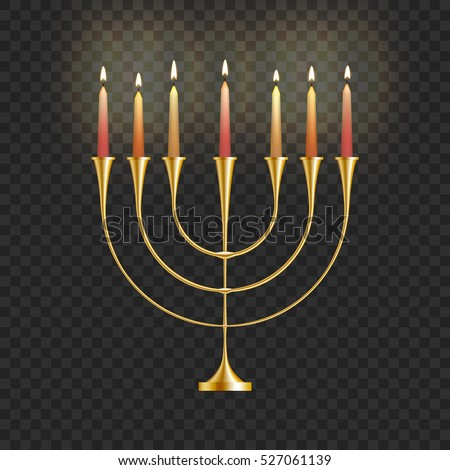 Good Stock Vector Illustration Hanukkah Menorah With Candles Isolated On A  Transparent Background. Jewish Candlestick. Gallery
