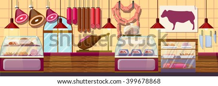 Stock vector illustration interior of Butcher shop, modern architectures, showcase meat products in flat style element for infographic, website, icon, games, motion design, video - stock vector