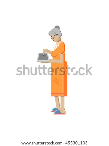 Stock vector illustration isolated European retiree, elderly woman in profile, read books  via eBook, laptop in hand, woman touches screen laptop side view, Order by Internet, read news flat style