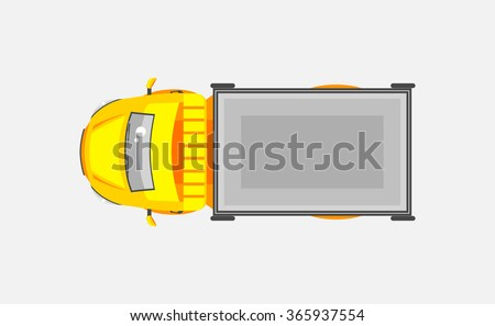 Stock vector illustration isolated light truck with trailer top view flat style gray background. Element for infographic, printed material, website, icon, card Congratulation on Day motorist or driver - stock vector