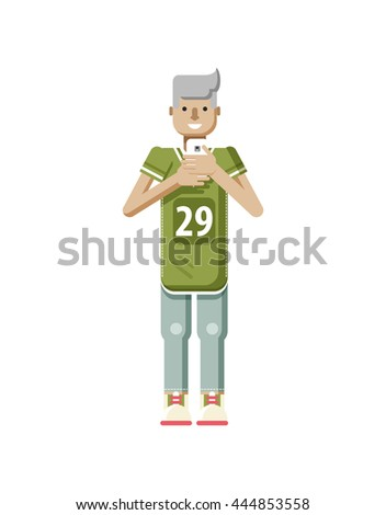 Stock vector illustration isolated of European blonde man in sports shirt and sweatpants, with smartphone in hand, youth looking into screen of phone in flat style on white background