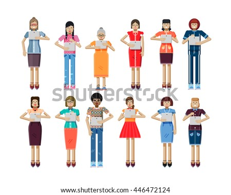 Stock vector illustration isolated set of European, African-American women with laptop in hands, women looking into screen of eBook, touch screen, women's clothes in flat style on white background
