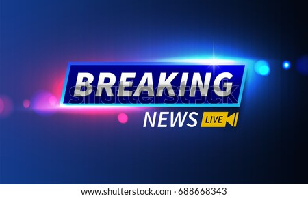 Stock vector illustration logo breaking news live banner. Police lights background, bokeh, breaking news live. EPS10