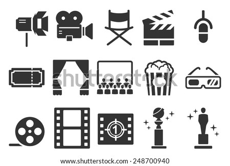Stock Vector Illustration: Movies icons - stock vector