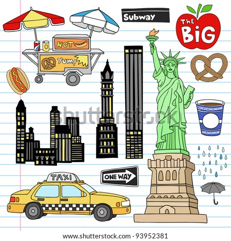 Stock Vector Illustration: New York City Manhattan Notebook Doodle Design Elements Set on Lined Sketchbook Paper Background- Hand Drawn Vector Illustration - stock vector