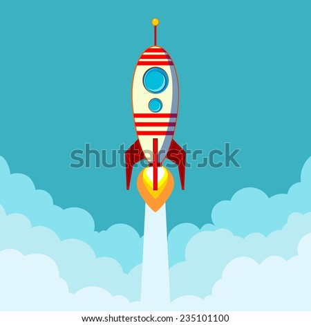 Stock Vector Illustration of a Cartoon Flying Rocket with Illyuminotor and Flames from the Engine with space for text in the clouds.  Contour vector - stock vector