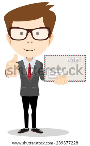 Stock Vector illustration of a cartoon Office worker holding huge mailer envelope  giving the thumbs up and friendly smiling - stock vector