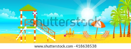 Stock vector illustration of happy sunny summer day at the beach with lifeguard tower on island with bright sun, palm trees in flat style element for info graphic, website, games, motion design - stock vector