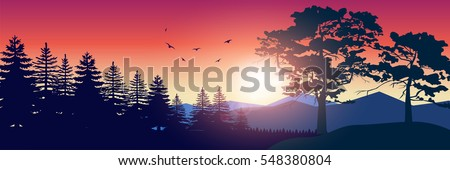 Stock vector illustration of nature backdrop of mountains landscape with silhouette of trees, spruces. For banner, horizontal header website, printed materials. Image Picture Background Red Sunrise