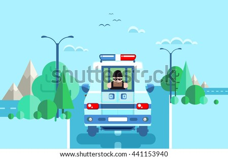 Stock vector illustration of offender in police car, criminal behind bars, criminal caught, offender transported in police vehicle with grid, perpetrator black mask was arrested on road between trees - stock vector