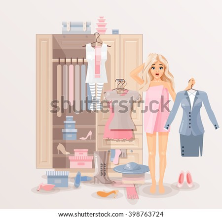 Stock vector illustration of puzzled girl after shower wrapped in towel near closet with huge selection of scattered clothing and shoes for infographic, website, icon, games, motion design, video - stock vector