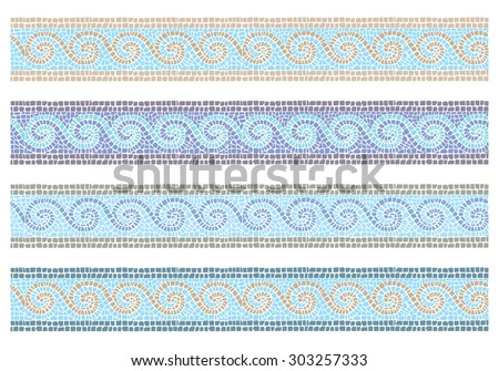 Stock Vector Illustration Of Vintage Mosaic In The Byzantine Style Seamless  Border/Vintage Mosaic Seamless