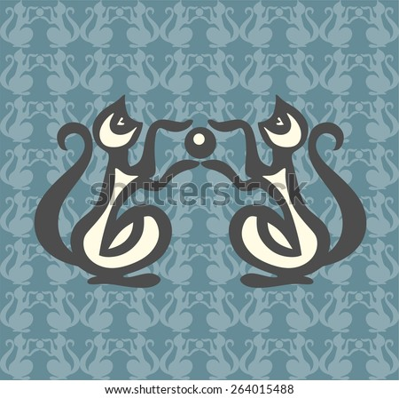 Stock Vector Illustration: playful squirrels. vector pictures isolated on blue background. children illustration - stock vector